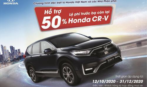 Hỗ trợ 50% lệ phí trước bạ còn lại cho khách hàng mua xe Honda CR-V